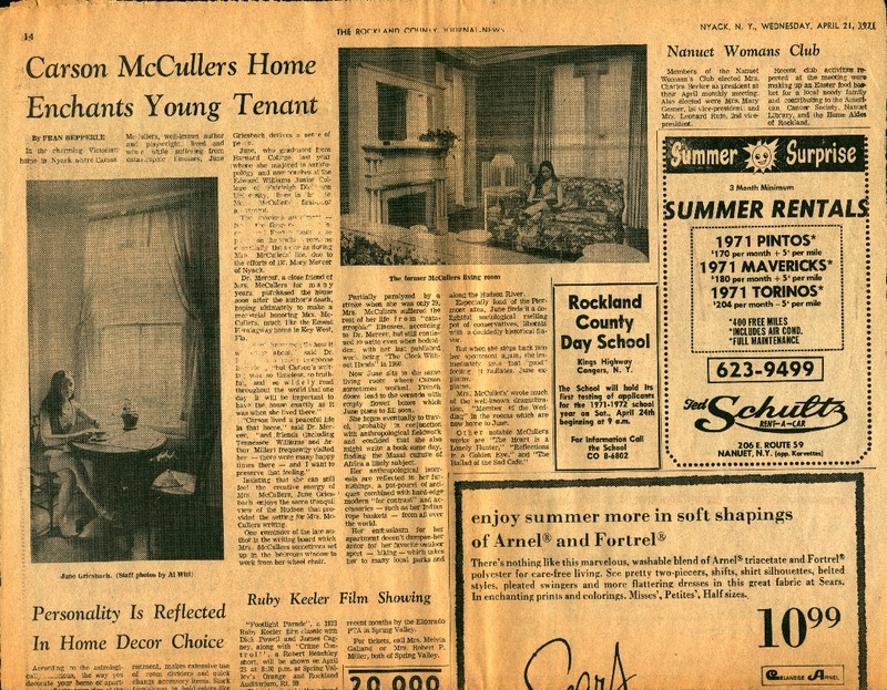 Carson McCullers Home Enchants Young Tenant