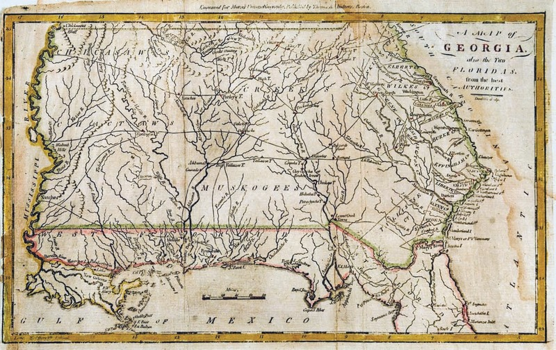 A map of Georgia, also the Two Floridas from the best Authorities. Doolittle, sculp. Engraved for Morse's Universal Geography. Published by Thomas & Andrews, Boston. [1796].