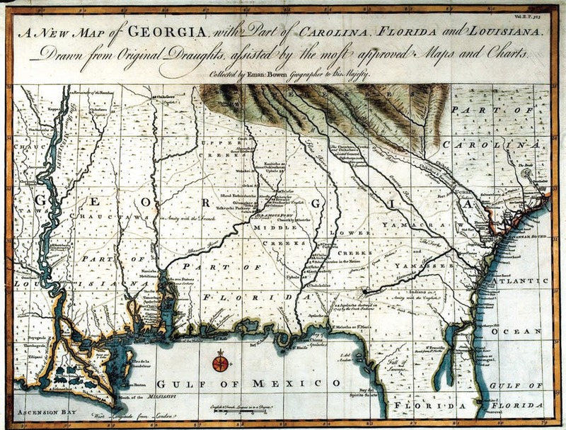 """A New Map of Georgia, with Part of Carolina, Florida and Louisiana. Drawn from Original Draughts, assisted by the most approved Maps and Charts. Collected by Eman. Bowen, Geographer to His Majesty."" In John Harris, Navigantium atque Itinerantium Bibliotheca. Or, A Complete Collection of Voyages and Travels. London, 1744-48."