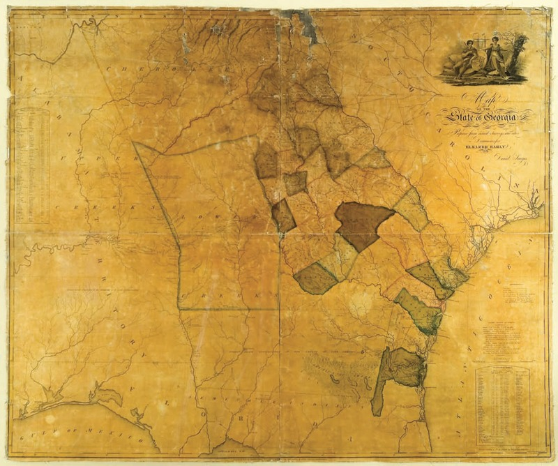 """Map of the State of Georgia, Prepared from actual Surveys and other Documents, for Eleazer Early, By Daniel Sturges."" Published & Sold By Eleazer Early, Savannah, Georgia . . . Engraved by Saml. Harrison, 1818."