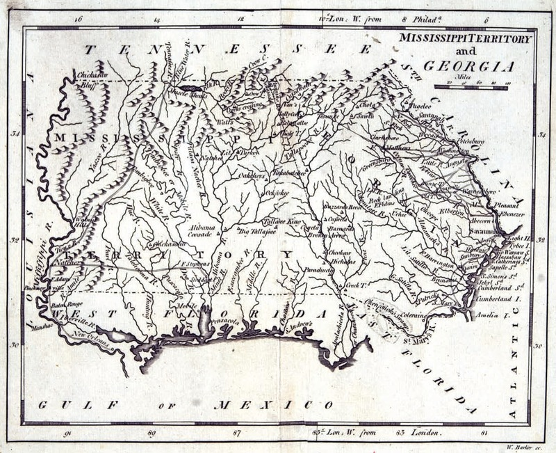 """Mississippi Territory and Georgia."" W. Barker, sc. Published in Matthew Carey's American Pocket Atlas, [1805]."