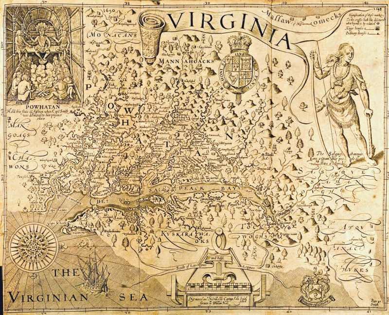 Virginia. Discovered and described by Captain John Smith, Grauen by William Hole.