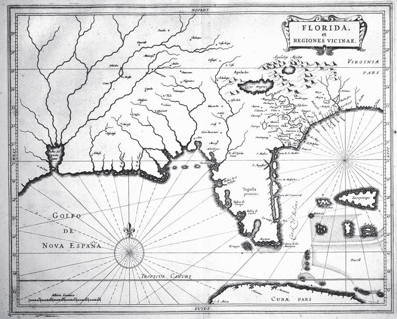 Florida, et Regiones Vicinae, ca. 1630. Delineated by Hessel Gerritsz and published by Joannes de Laet in Novus Orbis, 1633 and L'Historie de Nouveau Monde, 1635 and various other works.