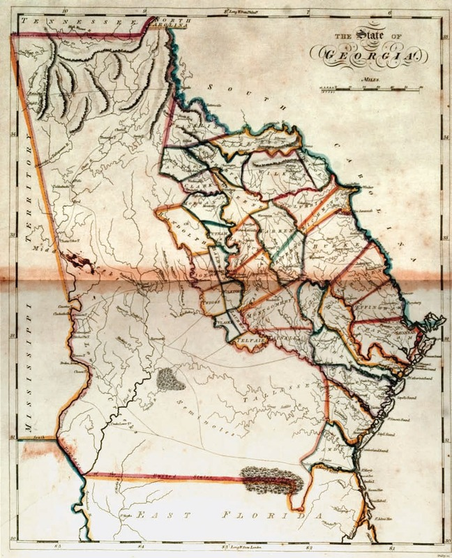 """The State of Georgia."" Samuel Lewis, cartographer; Enoch G. Gridley, engraver. In Matthew Carey, General Atlas. Philadelphia, 1814."