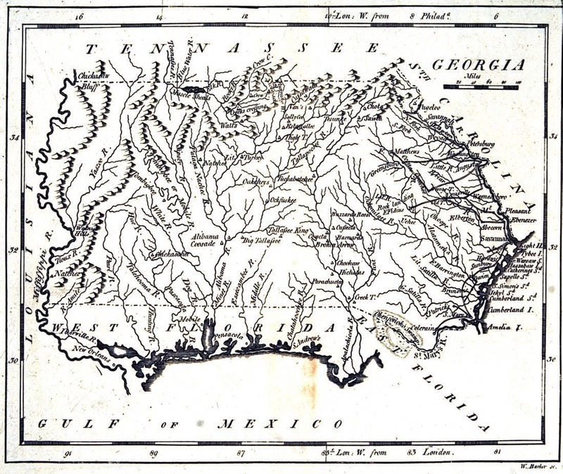 """Georgia."" W. Barker, sc. Published in Matthew Carey's American Pocket Atlas, 1801."
