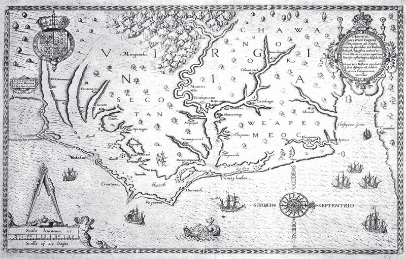 Americae pars, Nunc Virginia dicta, primum ab Anglis inuenta, sumtibus Dn. Walter Raleigh, Equestris ordinis Viri Anno Dni. MDLXXXV regni Vero Sereniss: nostrae Reginae Elizabethae XXVII