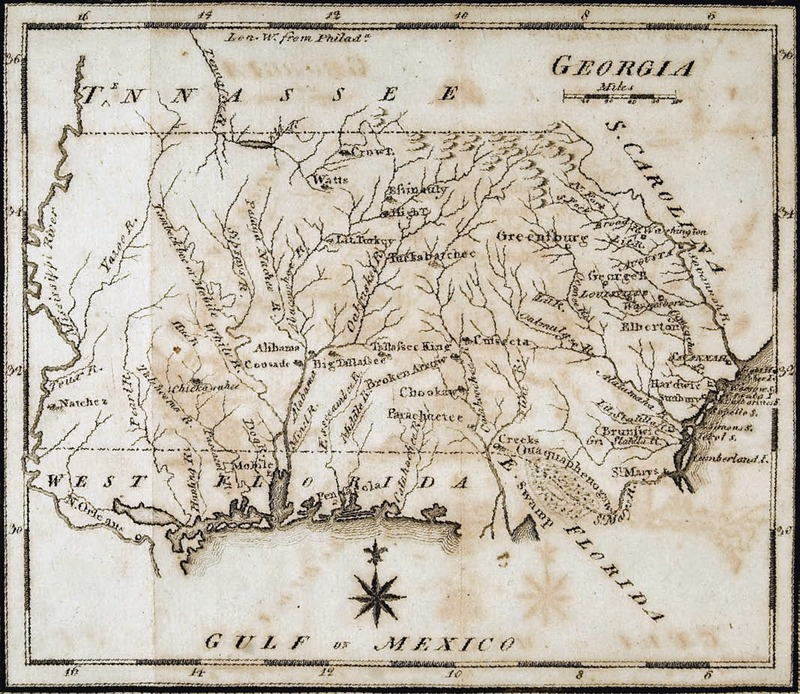 """Georgia."" Published in Joseph Scott's The New and Univeral Gazetteer, 1799."