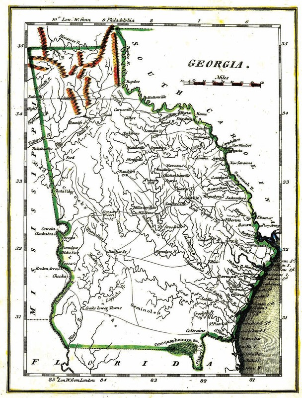 """Georgia."" No cartographer. In M. Carey & Son, Philadephia, 1805."