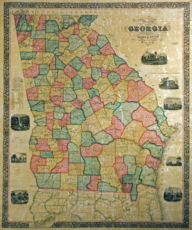 """Map of the State of Georgia, James R. Butts, Late Surveyor General, Macon, 1859."""