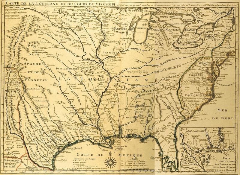 """""""Carte de la Louisiane et du Cours du Mississippi Dressée . . . Par Guillaume Del'isle."""" 1718. In G. Delisle, Atlas, Paris, 1700-62."""