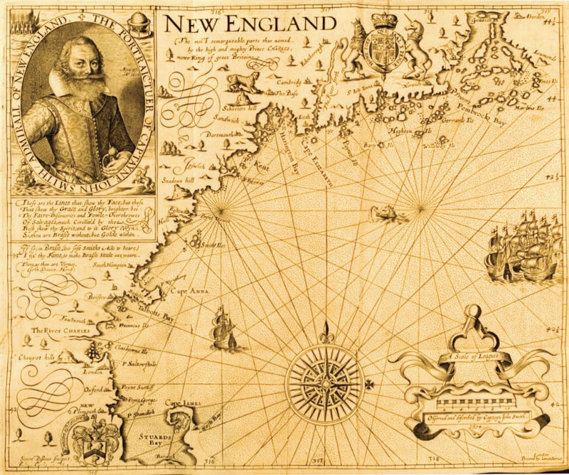 New England, by Captain John Smith. 1616. From T<em>he Generall Historie of Virginia, New-England, and the Summer Isles</em>, 1624.