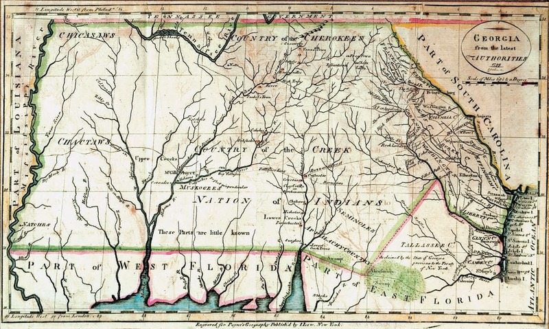 """Georgia from the Latest Authorities."" Engraved by John Scoles. New York: I. Low, 1799. From John Payne's Universal Geography."