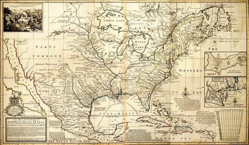 """A New Map of the North Parts of America claimed by France under ye Names of Louisiana, Mississippe, Canada and New France with ye Adjoyning Territories of England and Spain . . ."" By H. Moll Geographer, 1720."