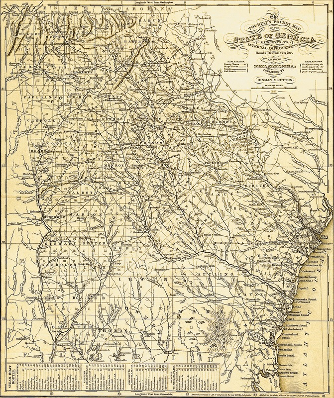 """The Tourist's Pocket Map of the State of Georgia Exhibiting its Internal Improvements, Roads, Distances, &c. By J. H. Young. Philadelphia: Published by Hinman & Dutton, 1837."""