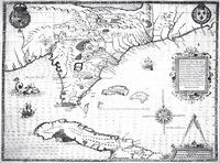 Floridae Americae Provinciae Recens & exactissima descriptio Auctorè Iacobo le Moÿne cui cognomen de Morgues, Qui Laudõnierum, Altera Gallorum in eam Prouincian Nauigatione comitat . . . in Part II of Theodore de Bry's Grands Voyages, 1591.