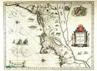 """Nova Belgica et Anglia Nova."" Willem Janszoom Blaeu. Based on Adrian&lt;br /&gt;<br /> Block's 1614 map and published in Theatrum Orbis Terrarum, 1635."