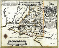 Noua Terrae-Mariae Tabula, or Lord Baltimore's Map, 1635. Second edition by John Ogilby, 1671.