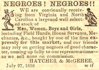 Advertisement for Slave Sale.